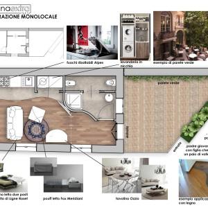 Pianta arredata - progetto per ristrutturazione monolocale