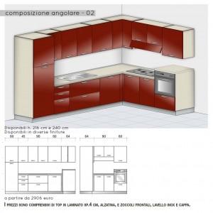 Cucina angolare con colonna forno h.108 cm