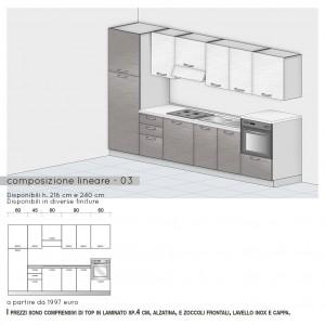Cucina lineare con colonna per forno h.108