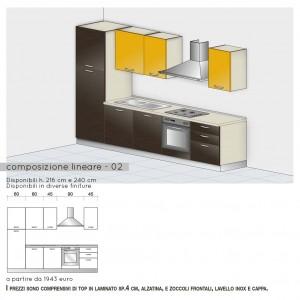 Cucina lineare con cappa a vista