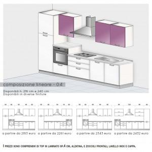 Cucina lineare con colonna forno h.108 cm e cappa a vista