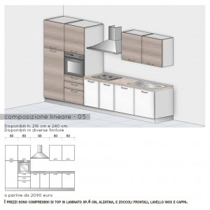 Cucina lineare con colonna forno